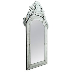 Pair of Venetian Mirror of the 20th Century, Glass is Etched and Bevelled