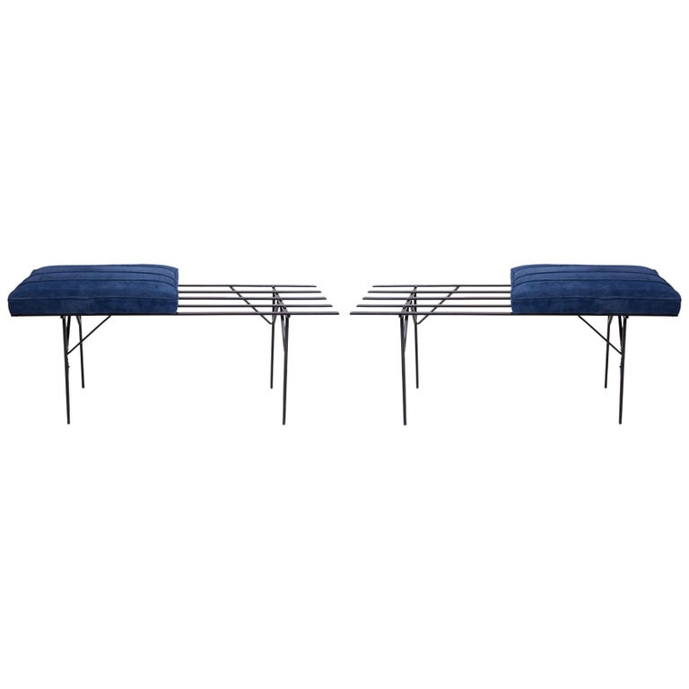 Pair of Iron and Suede Slat Benches