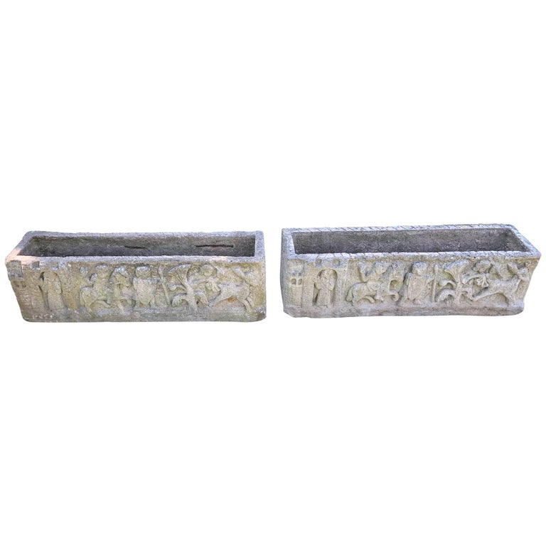 Pair of Long French Cast Stone Renaissance Revival Jardinières/Planters