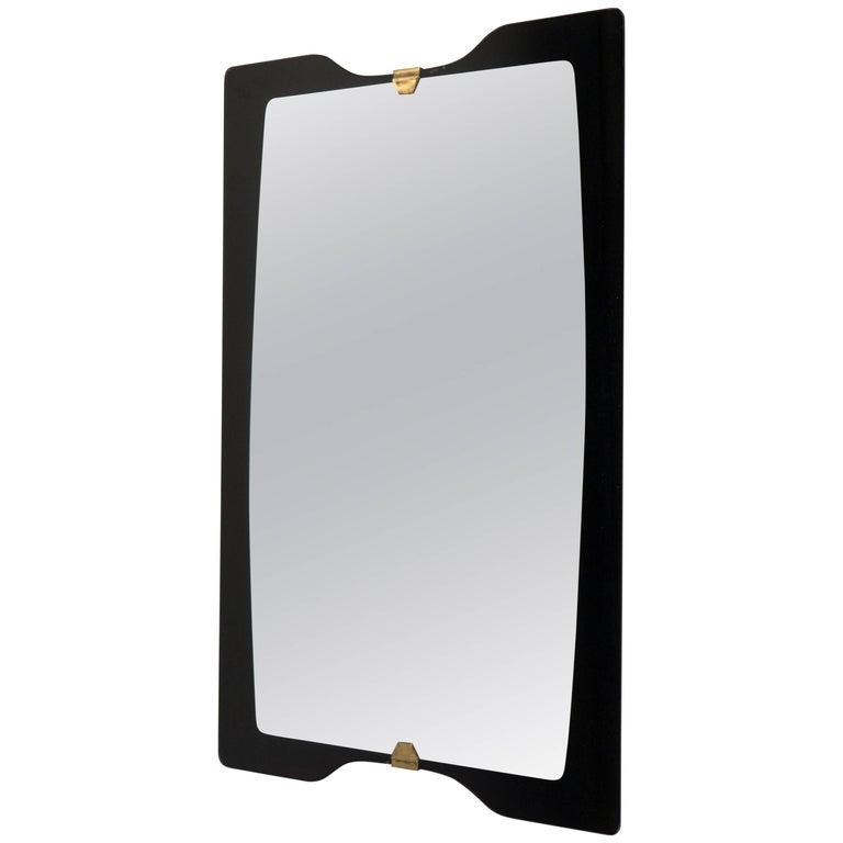 Black Glass Framed Mirror, Italy, 1960s