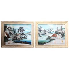 Pair of Japanese Reverse Glass Painting