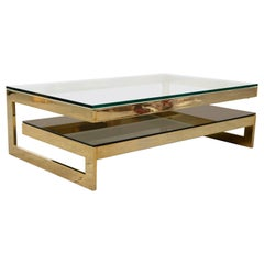 Belgo Chrome Two-Tier Coffee Table, 23 Karat Gold Plating, Maison Janssen Style
