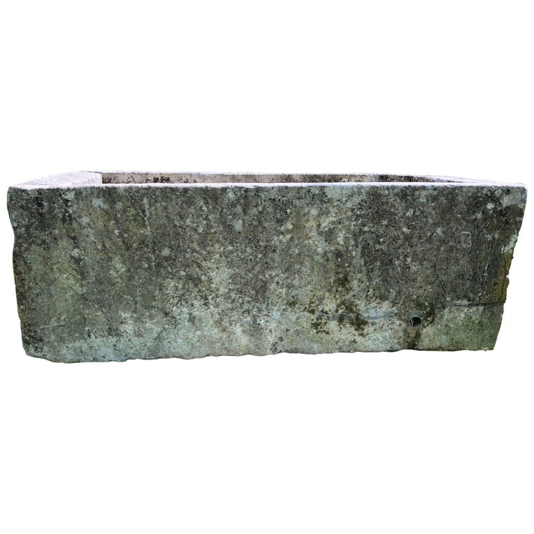 Enormous Antique French Hand-Carved Limestone Trough