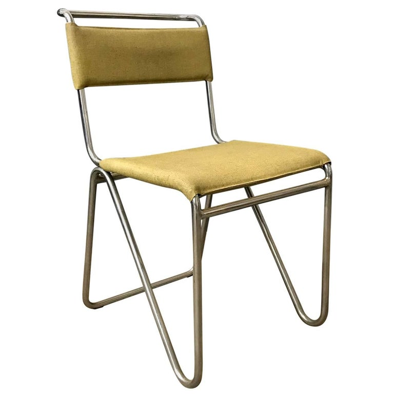 1927, W.H. Gispen for Gispen, Diagonal Chair 102 in Original Yellow Faux Leather