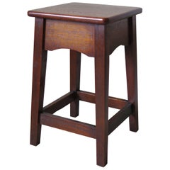 Edwardian Solid Oak Stool or Stand or Side Table, English, circa 1900