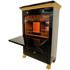 Empire Secretaire, Ebonized Maple, Gold-Plated Cornice, Vienna circa 1810