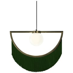 Wink Gold-Plated Pendant Lamp with Green Fringes