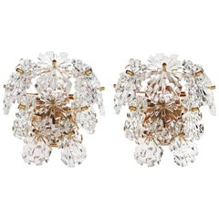 Pair of Gold-Plated and Faceted Crystal Sunburst Wall Sconces by Kinkeldey