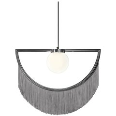 Wink Metal-Plated Pendant Lamp with Grey Fringes