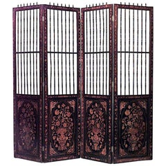 Continental Dutch Style '19th Century' Inlaid Floral Marquetry Four Fold Screen