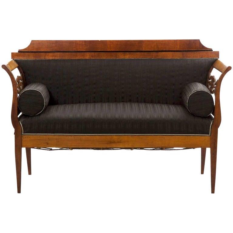 19th Century Austrian Biedermeier Antique Black Upholstered Carved Settee Sofa