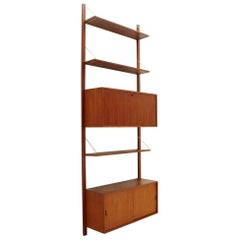 Italian Teak and Brass Wall Unit, 1950s