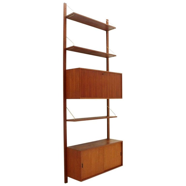Italian Teak and Brass Wall Unit, 1950s For Sale