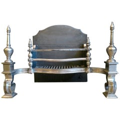 Large Polished Antique Fire Grate