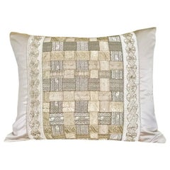 Antique Woven Galloons on Ivory Silk Pillow by Eleganza Italiana