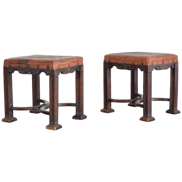 Pair of Italian Walnut and Leather Upholstered Gothic Revival Benches