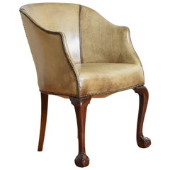 English Georgian Style Carved Walnut and Leather Upholstered Barrel/Desk Chair