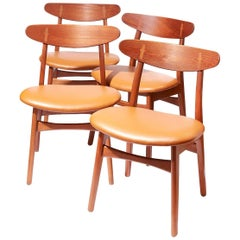 Set of Four Danish Teak CH-30 Dining Chairs by Hans Wegner for Carl Hansen & Son
