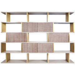 In and Out Bookshelf in Taupe Leather and Brass by Cristina Jorge de Carvalho