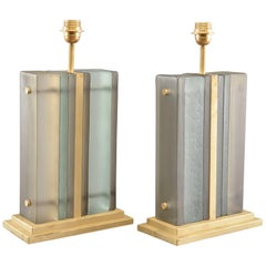 Pair of Italian Blue Layered Art Glass Table Lamps