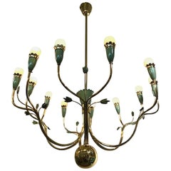 Arredoluce 1950s Brass and Green Enamel Chandelier by Angelo Lelli