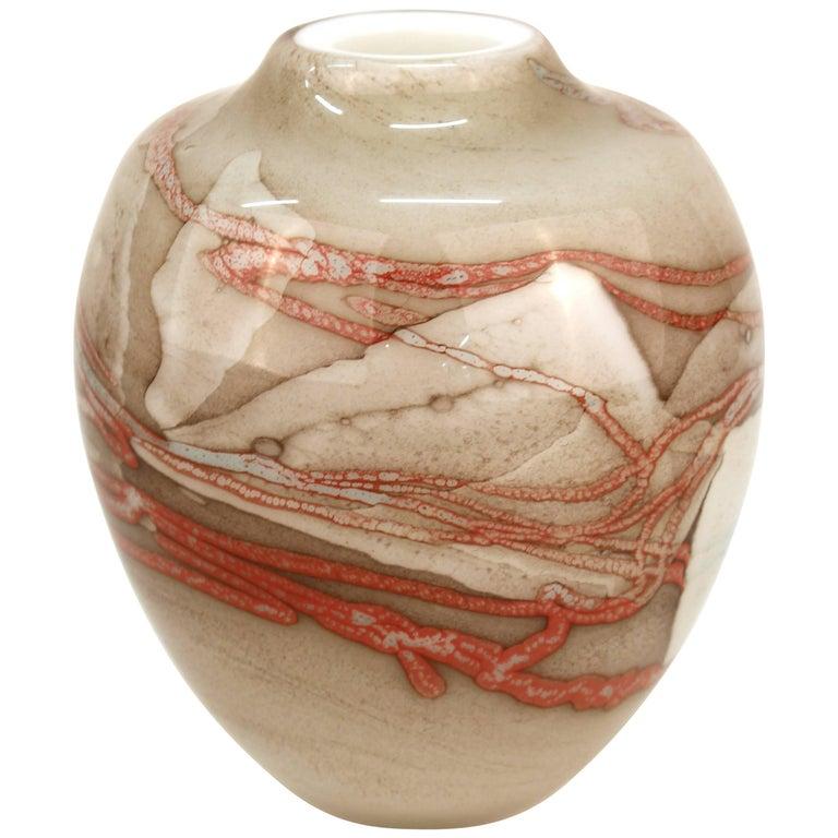 Robert DuGrenier Modern Studio Art Glass Vase, Signed