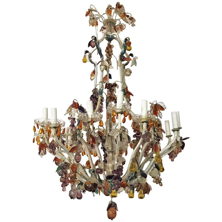 19th Century Italian Painted Bronze and Crystal Chandelier with Fruit Pendants
