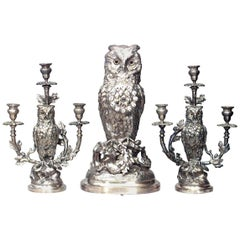 English Victorian Silver-Plated Owl Design Clock and Pair of Candelabra