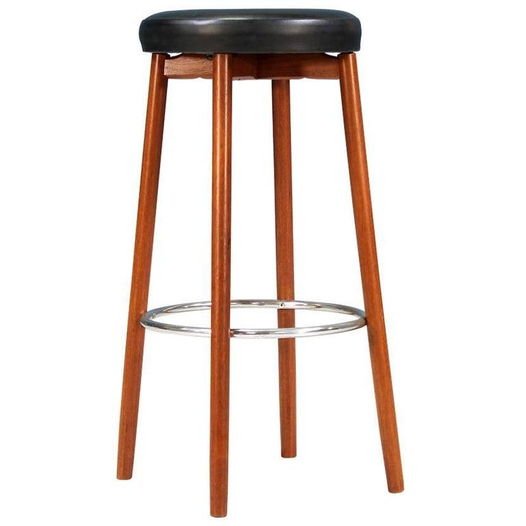 Danish Modern Teak Bar Stool by Hugo Frandsen