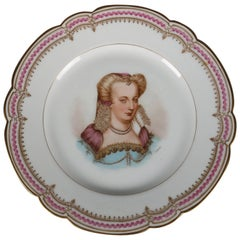 Antique French Sevres Painted and Gilt Portrait Plate of Louise de Lorraine