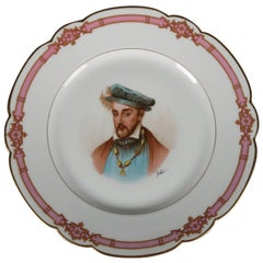 French Sevres Painted and Gilt Portrait Plate of Henri II Roy, I 19th Century