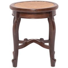 Early 20th Century Chinese En Pointe Oval Woven Top Stool