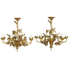 Pair of 1930s French Gilded Floral Chandeliers