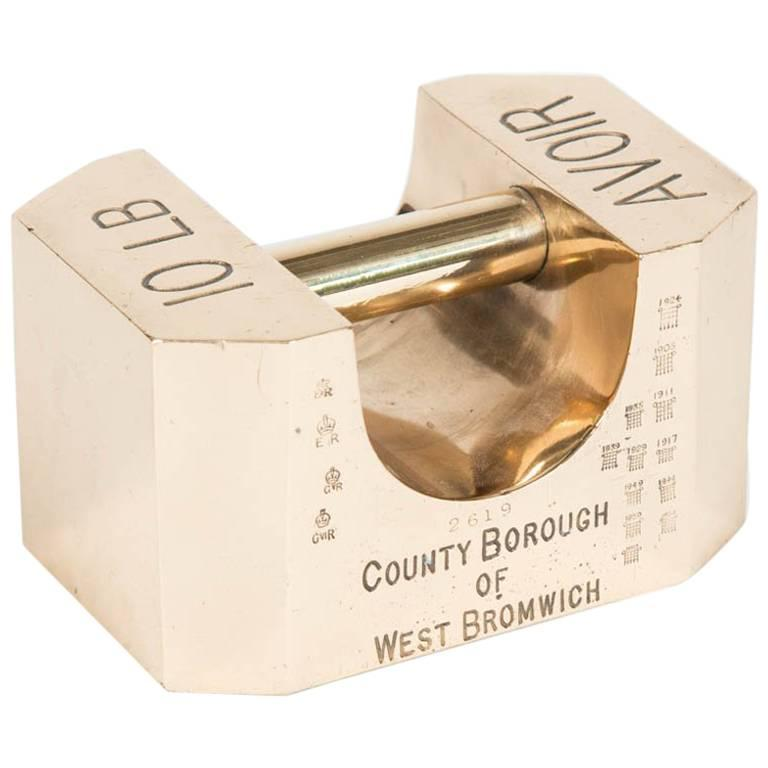 10 lb Standard Weight Made for the County Borough of West Bromwich by Avery