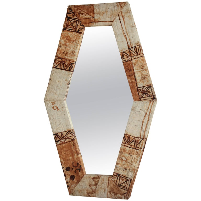 Tapa Cloth Mirror For Sale