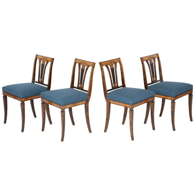 Set of Four Swedish Birch and Stained Birch Side Chairs, circa 1930-1940