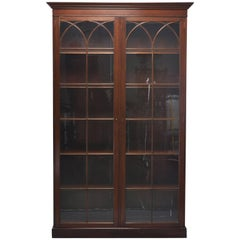 English Mahogany Glass Front Library Cabinet