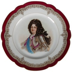 Antique French Sevres Painted and Gilt Porcelain Portrait Plate of Louis XIV