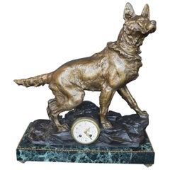 F. Pelissier French Bronze Shepherd Dog Statue Clock