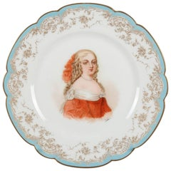 French Sevres Painted & Gilt Portrait Plate of Madame de Montespan 19th Century