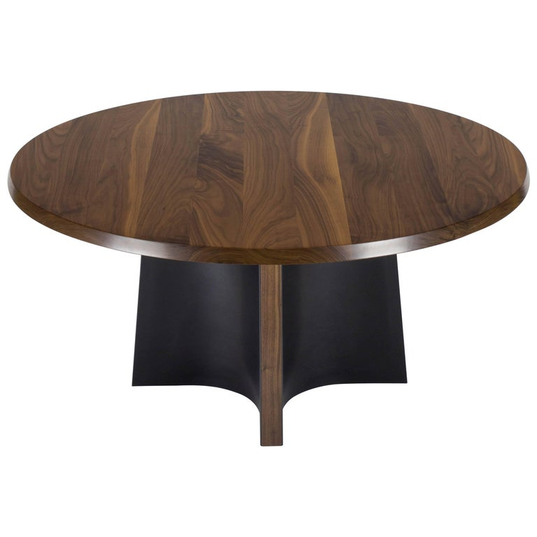 Skirt Round Dining Table in Walnut and Leather