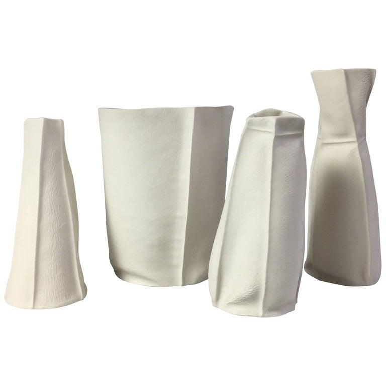 Set of Four Kawa Porcelain Pieces, in Stock