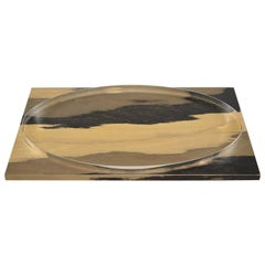 Hand Stained Wood Tray with Metal Oval Insert