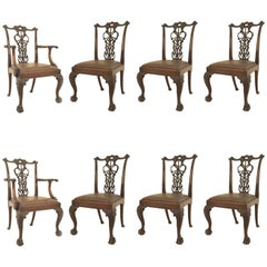 Set of Eight English Chippendale Style 'Late 19th Century' Chairs