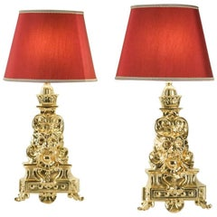 Pair of Fireplace Dogs in Gold Gilt Bronze 19th Century Turned into Lamps
