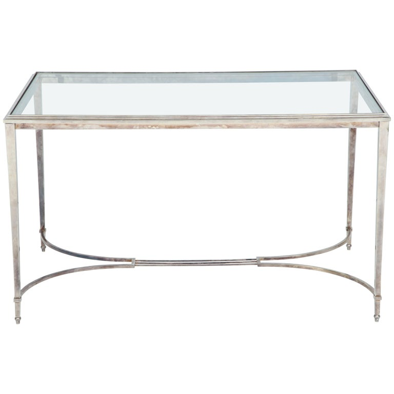 French Silvered Bronze Table For Sale