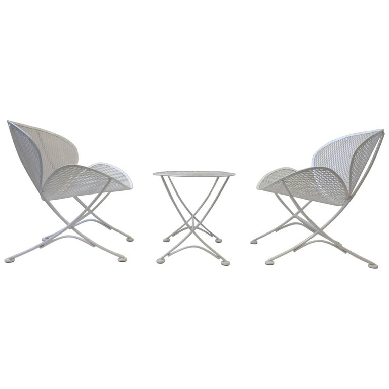 Outdoor Lounge Chairs and Table Set by Maurizio Tempestini for Salterini For Sale