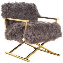 Modern Style Directors Chair Ivory or Charcoal Mongolian Fur & Solid Brass Frame