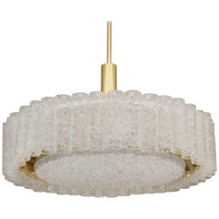 Grand Scale Doria Glass Tube Chandelier with Brass Surround