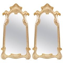 Pair of Italian Silver and Gold Giltwood Mirrors